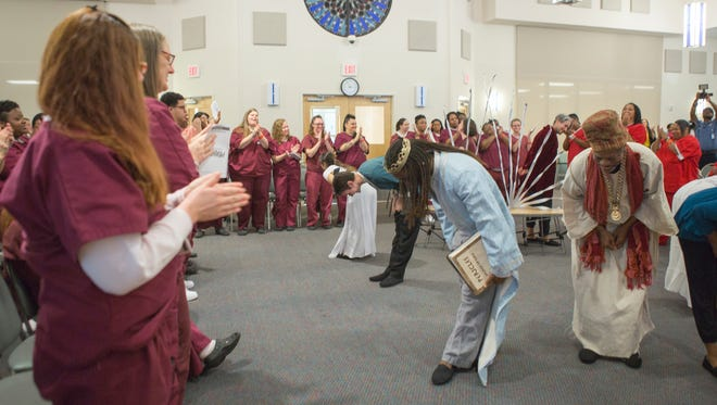 Inmates at Baylor Women's Correctional Institution applaud Delaware Shakespeare's Pericles in 2016.