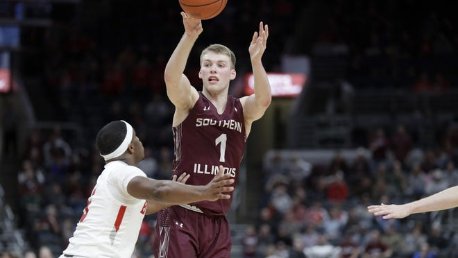Southern Illinois standout sophomore Marcus Domask (1) and his teammates will not play in the school's season-opening tournament at Louisville because of positive test results in the program.
