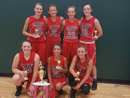 The Lady Xplosion eighth-grade team won the middle school division of the Hoopz Summer Championships tournament held July 23 and 24 in Gatlinburg, Tenn.