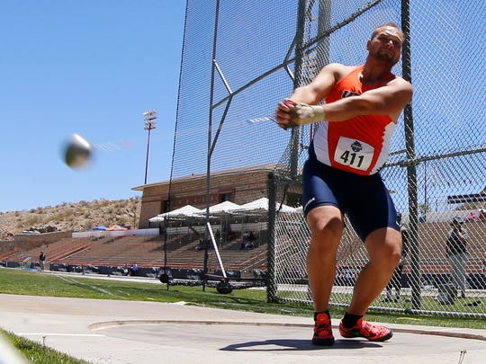 CUSA Trck and Field Championships are underway at Kidd Field on the campus of the University of Texas at El Paso, UTEP's hammer thrower Karol Koncos prepares to relase the hammer her during competition Friday afternoon. Koncos would finish third in the competition with Steven Veselinovic from Charlotte taking first place and Austin Riddle of Rice coming in 2nd.