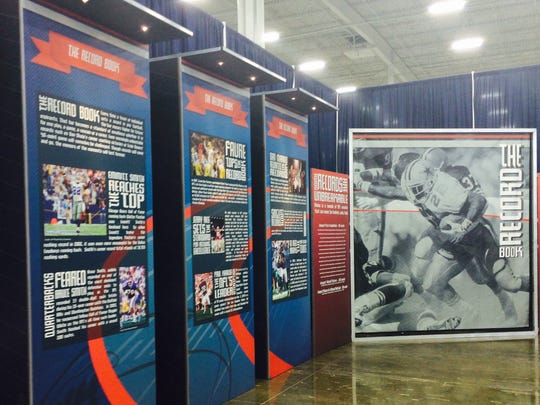"The ""Legacy Hall"" at the Pro Football Hall of Fame exhibit at the Minneapolis Convention Center in Minneapolis on Oct. 17."
