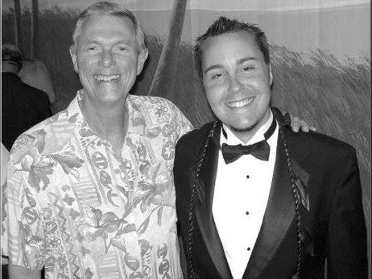 From left, Richard Carpenter and Chris May at the Richard and Karen Carpenter Performing Arts Center at Cal State Long Beach in March 2005.