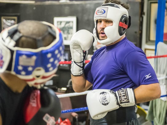 Matt Broussard sparring on Thursday night as he prepares