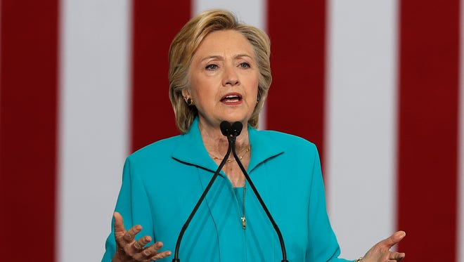 Democratic presidential candidate Hillary Clinton speaks at a campaign event at Truckee Meadows Community College in Reno on Aug. 25, 2016. Clinton is rolling out a comprehensive plan to address millions of Americans coping with mental health illness.