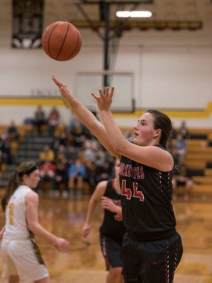 Emma Studer knocks down a basket against Colonel Crawford late in the regular season. Studer went on to lead the team with 14 points as part of the best offensive year of her career.