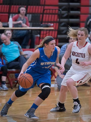 Wynford's Gretchen Harris drives to the basket against Buckeye Central.