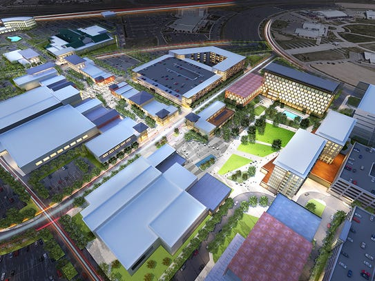 An aerial view of a 90-acre project named Brands at