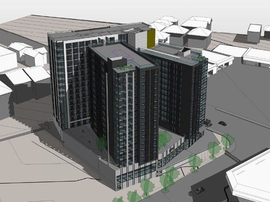 Rise at Chauncey, shown in these plans filed with the Area Plan Commission, would include three buildings topping out at 16 stories at the corner of State Street and Chauncey Avenue.