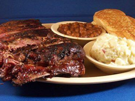 A rib platter from Jimmy's Barbecue Pit in Boone.