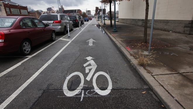 A view of the Central Parkway bike lane near Findlay Market Monday February 8, 2016. Bike lanes that extend along Central Parkway may be extended through Clifton into Northside.