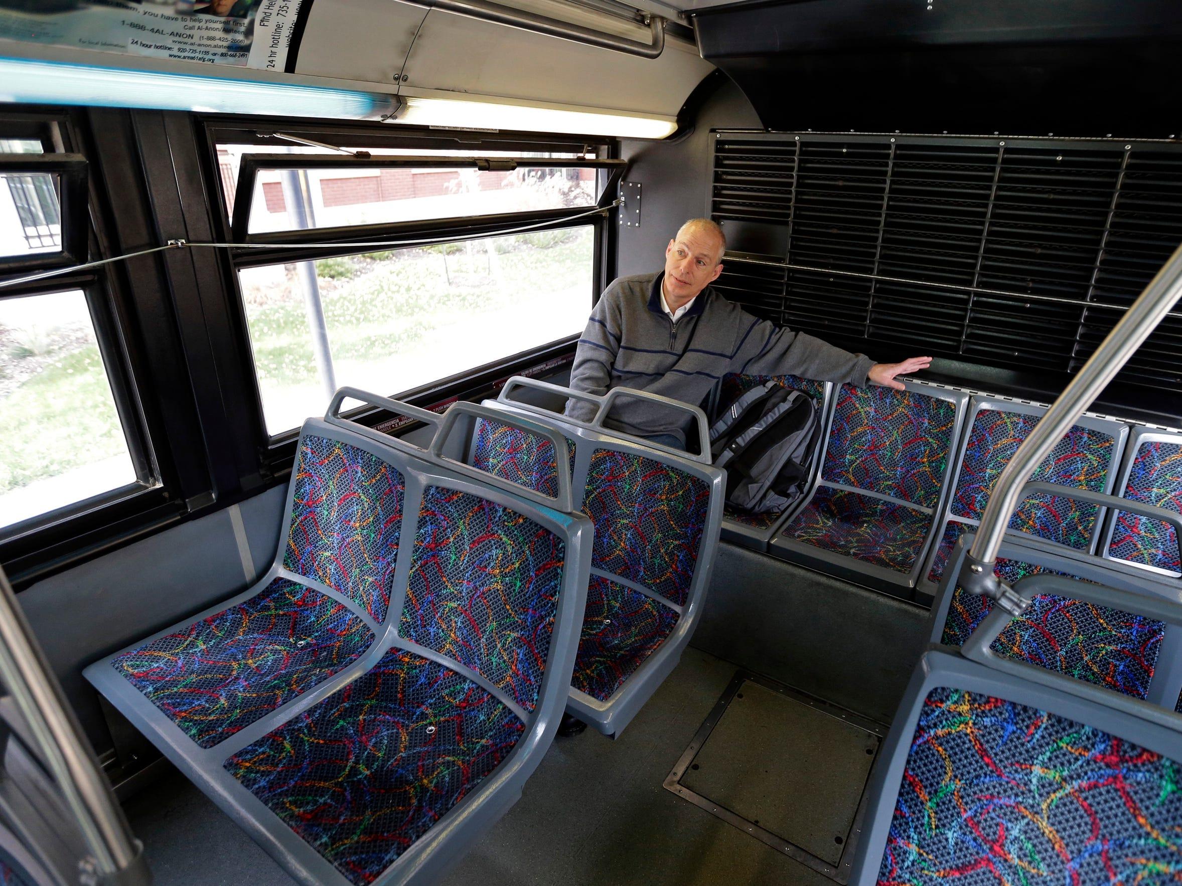 John Schaus rides a Valley Transit bus in Appleton