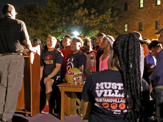 Hundreds of students and members of the community gathered Thursday, Sept. 21, 2017, for a candlelight vigil for Robert Grays at Midwestern State University.