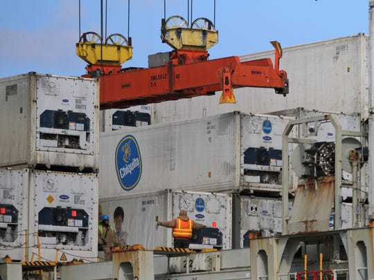 Longshoremen help unload a Chiquita shipment from a ship at the Port of Wilmington, Monday, March 5,  2013.