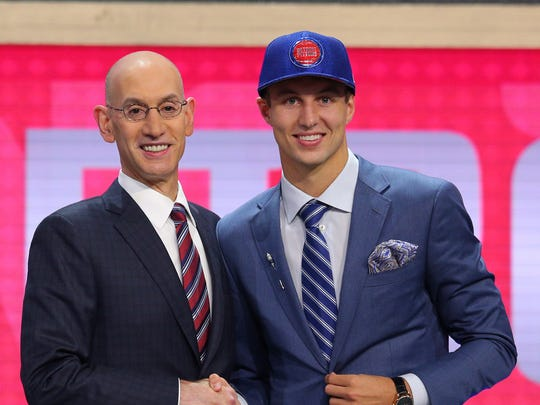 Duke's Luke Kennard is introduced by NBA commissioner
