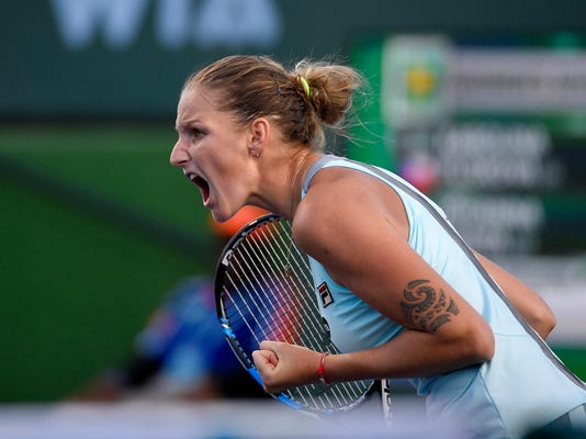 FILE - In this March 15, 2016, file photo, Karolina Pliskova, of the Czech Republic, reacts to winning a game against Johanna Konta, of Britain, at the BNP Paribas Open tennis tournament, in Indian Wells, Calif.  Pliskova is the No. 3 women's player at Wimbledon, where play begins Monday. (AP Photo/Mark J. Terrill, File)