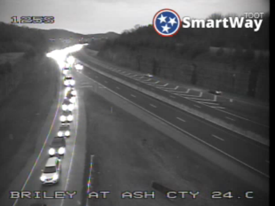 Motorists stopped on Briley Parkway at Ashland City Highway due to a crash involving a tanker.