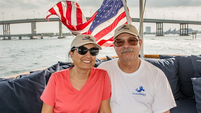 This Jupiter couple - Navy Petty Officer Third Class Robert Nappi and his wife Sherrie - recently was part of a cruise on the Mariner III in North Palm Beach. They were joined by 70 other veterans and their spouses. Robert and Sherrie volunteer their time with Freedom Waters Foundation, which takes veterans cruising for an afternoon.  Recently they were hosted on the Mariner III in North Palm Beach, and were joined by 70 other veterans and their spouses.