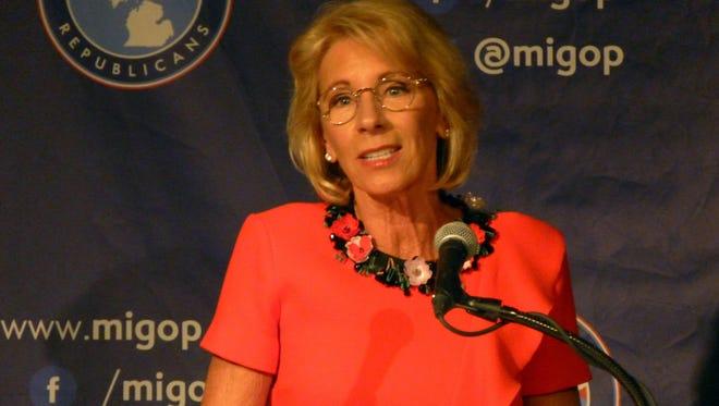 Education Secretary Betsy DeVos speaks on Friday, Sept. 22, 2017 at the Mackinac Republican Leadership Conference on Mackinac Island.
