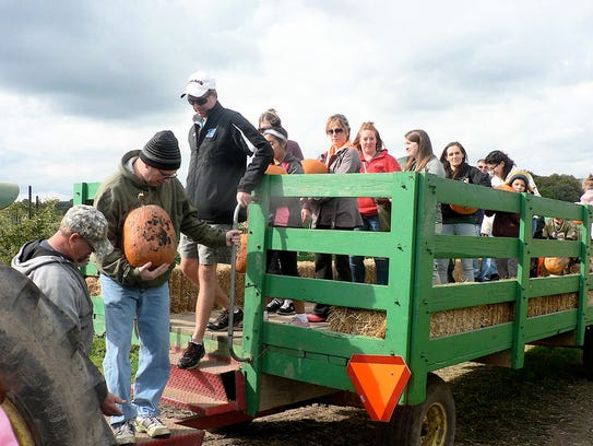 Wagon rides to the pumpkin patch are a highlight of