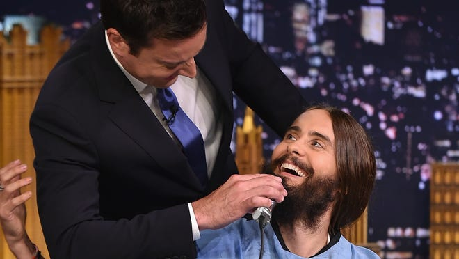 """NEW YORK, NY - AUGUST 20:  Jared Leto Visits """"The Tonight Show Starring Jimmy Fallon"""" at Rockefeller Center on August 20, 2014 in New York City.  (Photo by Theo Wargo/NBC/Getty Images for """"The Tonight Show Starring Jimmy Fallon"""")"""