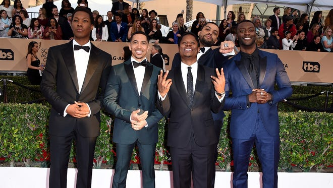Corey Hawkins, Neil Brown Jr., Jason Mitchell, O'Shea Jackson Jr. and Aldis Hodge pose at the Screen Actors Guild Awards on Jan. 30.