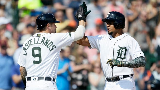 Detroit Tigers third baseman Jeimer Candelario celebrates his two-run home run against the Chicago White Sox with right fielder Nicholas Castellanos during the first inning on Saturday. Candelario leads the Tigers with seven home runs.