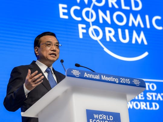 Chinese Premier Li Keqiang speaks at the World Economic