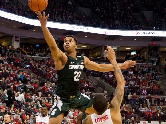 Michigan State freshman Miles Bridges shoots against