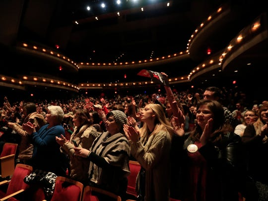 The audience stands an applauds Sen. Bernie Sanders (I-VT) at the Weidner Center on the UW-Green Bay campus on Saturday, February 24, 2018 in Green Bay, Wis. The event was part of a nationwide 'Repeal The Trump Tax' tour.Adam Wesley/USA TODAY NETWORK-Wisconsin
