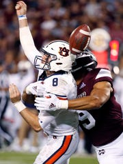 Mississippi State defensive end Montez Sweat forces Auburn quarterback Jarrett Stidham to fumble last season.
