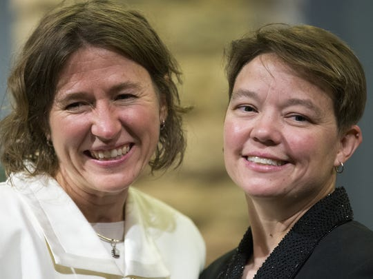 Charlotte (left) and Dawn Egler, who have been married