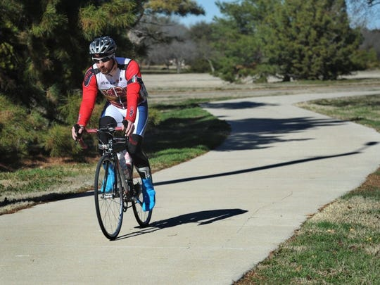 In this file photo, Tyler Helms enjoys a ride along the Circle Trail. The Wichita Falls Bike Friendly Action Team is hosting their first event - a free biking scavenger hunt at Lake Wichita March 9.
