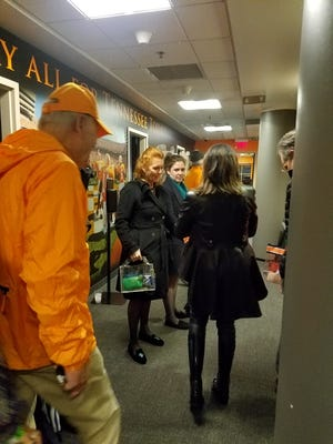 Duchess of York Sarah Ferguson is seen in the skybox lobby at the University of Tennessee skybox