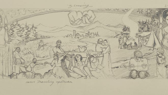 An early sketch of a proposed fresco that is expected to be installed at Asheville's Haywood Street Congregation. The Freedom From Religion Foundation has challenged a grant the congregation received from the Buncombe County Tourism Development Authority, claiming it is unconstitutional.