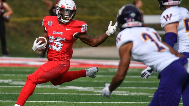 Jacksonville Jaguars running back James Robinson, shown Oct. 6, 2018, with Illinois State, can make NFL history on Sunday.