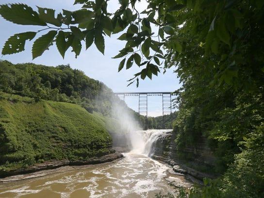 Upper Falls and the railroad trestle bridge over it