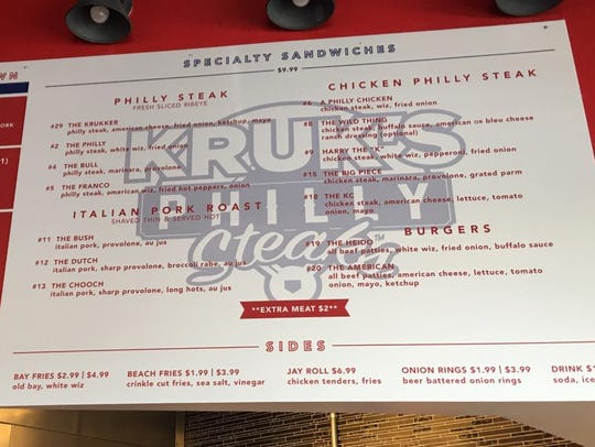 The menu from Kruk's Philly Steaks in North Naples.