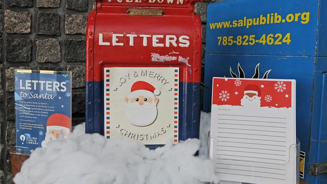 Letters to Santa can be dropped off at the Salina Public Library in the main north entrance lobby inside the letters box from 10 a.m.-7 p.m. Monday through Thursday and 10 a.m.-6 p.m. Friday through Saturday.
