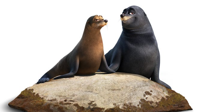 Sea lions Rudder (left, voiced by Dominic West) and Fluke (Idris Elba) in 'Finding Dory.'