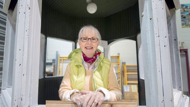 Jerri Worley-Jadick stands inside York's Continental Square trolley kiosk, which is being renovated at the Kinsley Education Center.