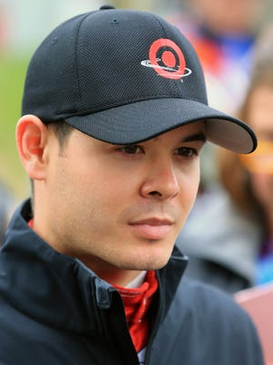 MARTINSVILLE, VA - MARCH 27:  Kyle Larson, driver of the #42 Target Chevrolet, looks on during practice for the NASCAR Sprint Cup Series STP 500 at Martinsville Speedway on March 27, 2015 in Martinsville, Virginia.  (Photo by Daniel Shirey/Getty Images)