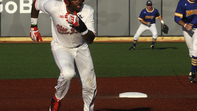 Licking Heights graduate Ronnie Dawson runs the bases for Ohio State during a game against Morehead State earlier this season. Dawson is one of the Buckeyes' top players this season.