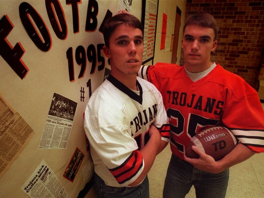 Grant McGraw, WR, Pleasantville: A three-time all-state pick in 1993-95. Finished his career with 46 touchdown receptions, which is tied for second all-time in Iowa high school football history. Recorded 171 catches for 3,710 receiving yards, a mark that sits second all-time. McGraw, right, is pictured with Pleasantville quarterback Scott Koerselman in 1995.