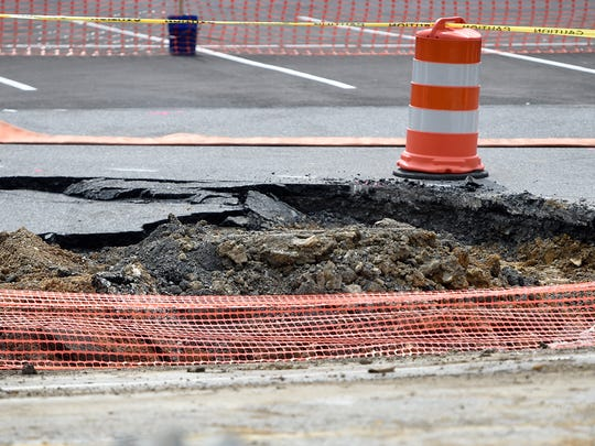 The sinkhole along 422 in N Londonderry Township has continued to create problems for commuters. Crews were seen working on the road Sept. 12.