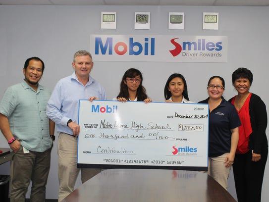 Mobil Oil Guam Inc. (Mobil) presented Notre Dame High