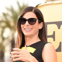 """Sandra Bullock arrives at the Los Angeles premiere of """"Minions."""""""