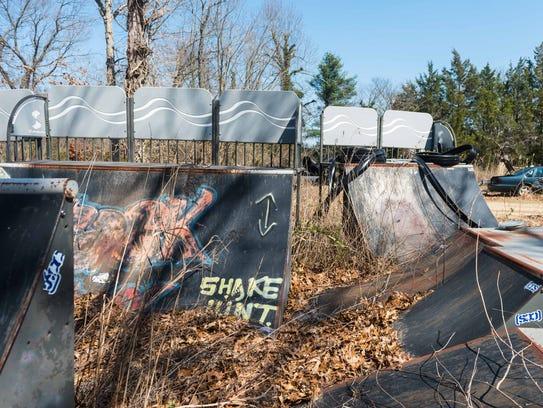 Parts for a skateboard park stored at Vineland Public