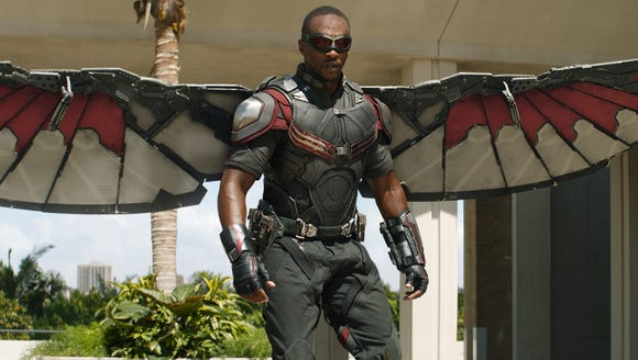 "Falcon (Anthony Mackie) is the eyes and ears of the common man in an uncommon Avengers squad in ""Captain America: Civil War."" (Photo: MARVEL)"