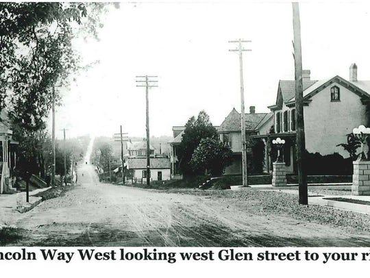 Looking west from Lincoln Way West toward Glen Street,