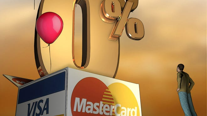 Illustration depicting credit card offers from Visa and MasterCard that are raining down on card holders with good credit.